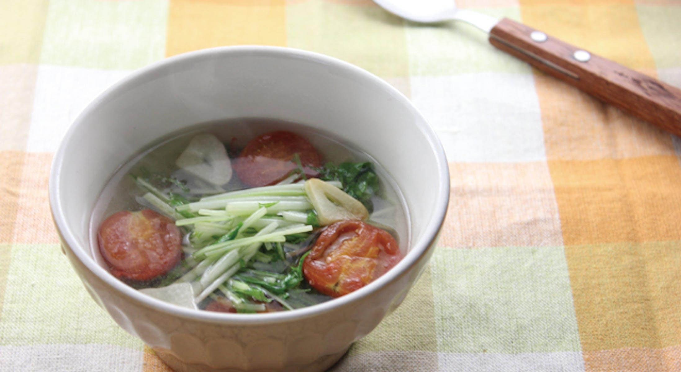 水菜とミニトマトのスープ