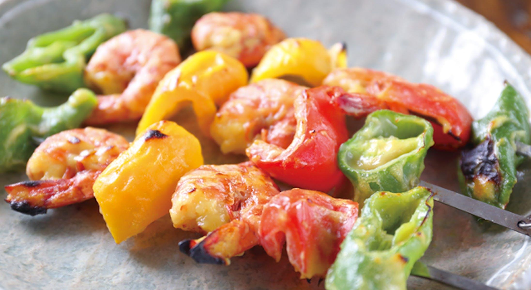 西京えびと夏野菜の串焼き