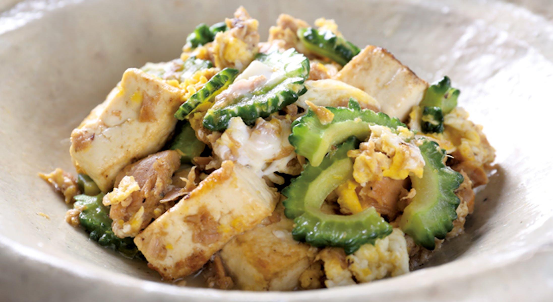 ゴーヤーとツナと豆腐のチャンプルー