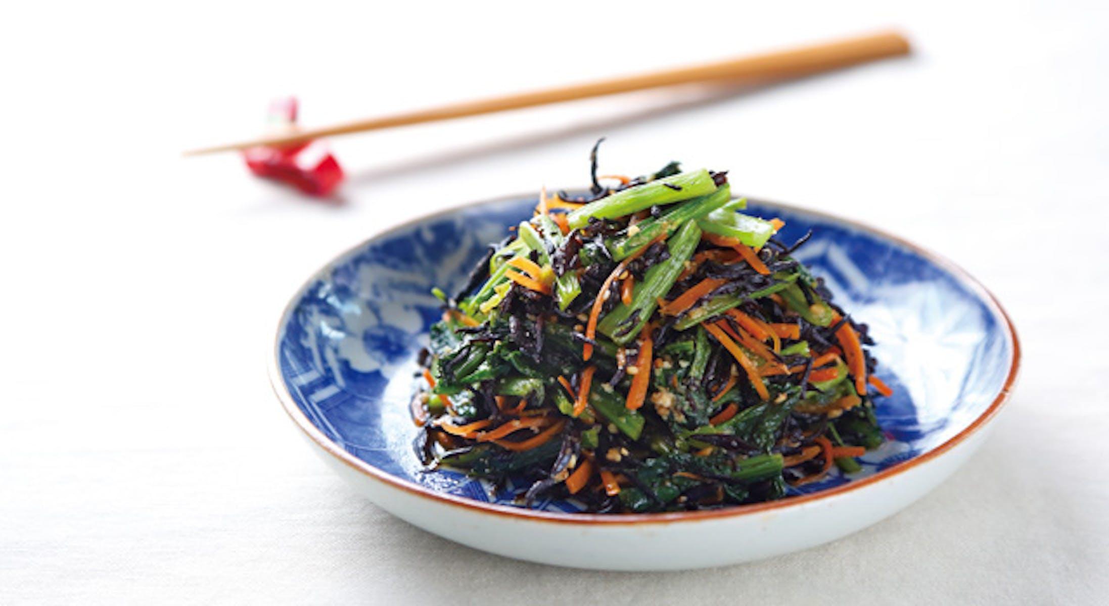 小松菜とひじきのピリ辛炒め煮