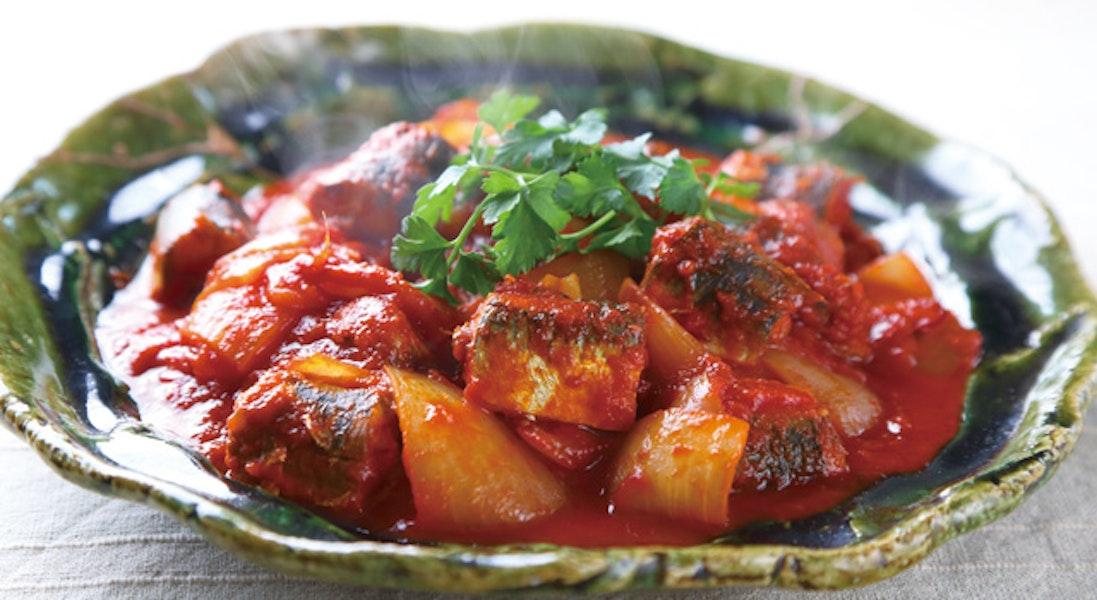 いわしと玉ねぎのトマト煮