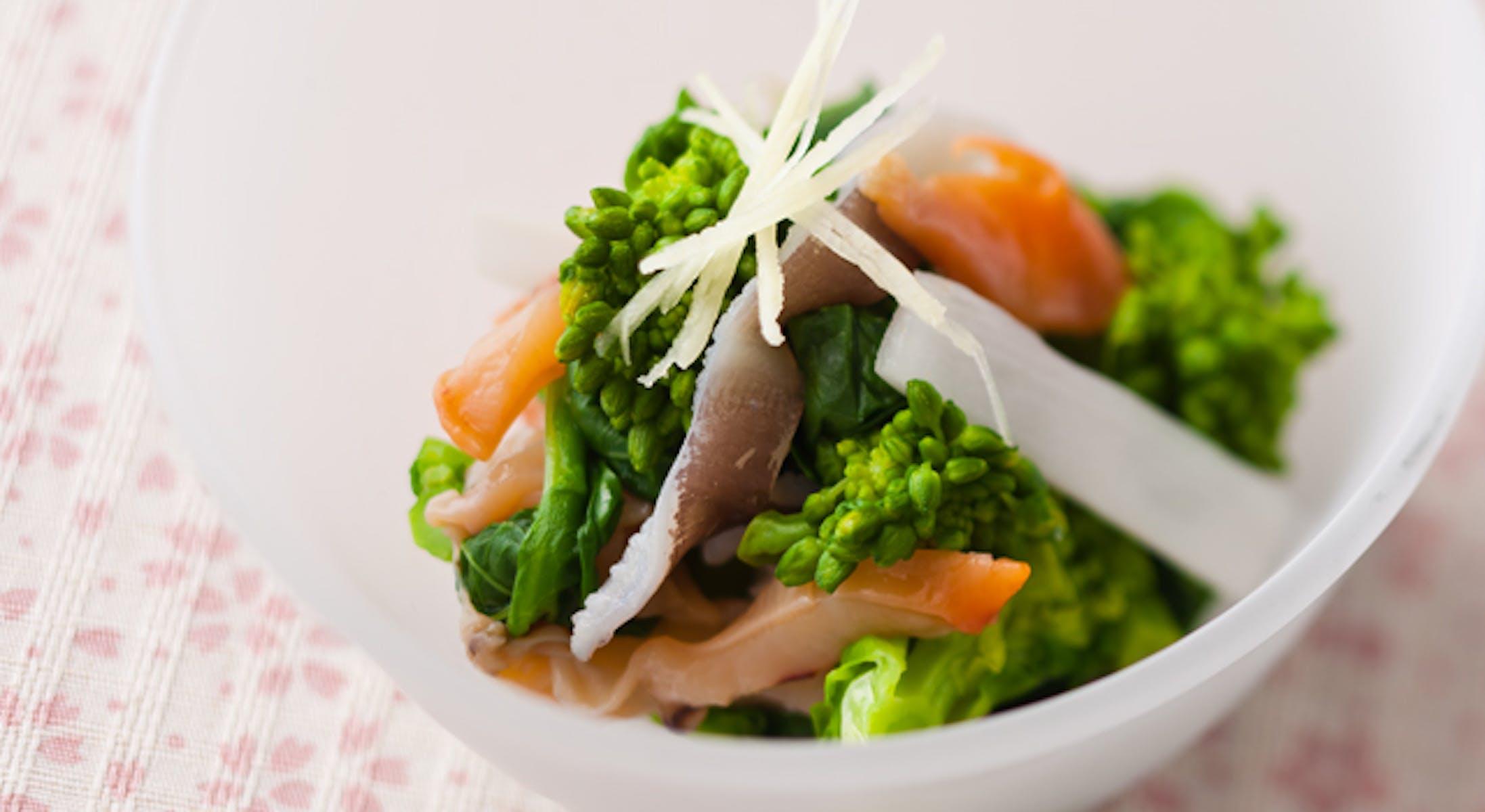 貝と春野菜のしょうが酢