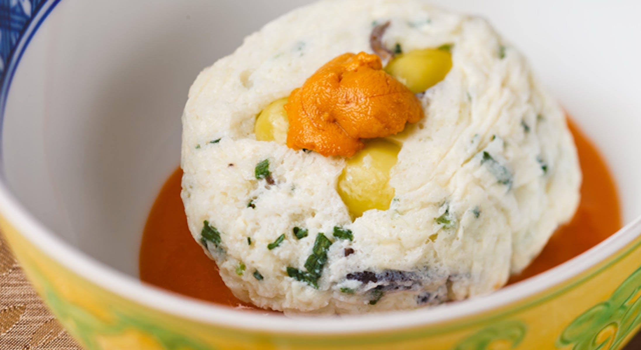 豆腐スフレのうに風味ソース添え