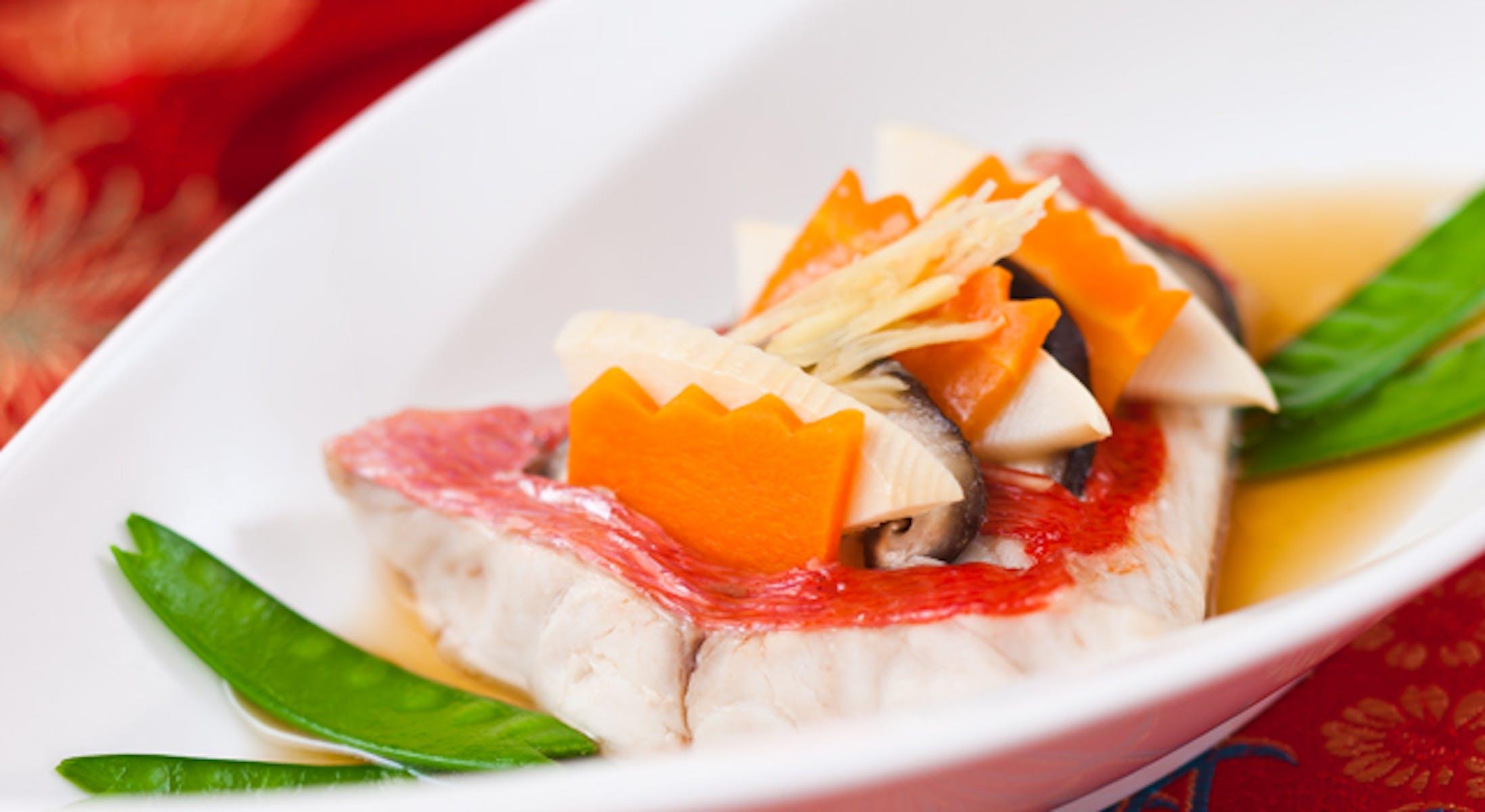 きんめ鯛と野菜の彩り蒸し