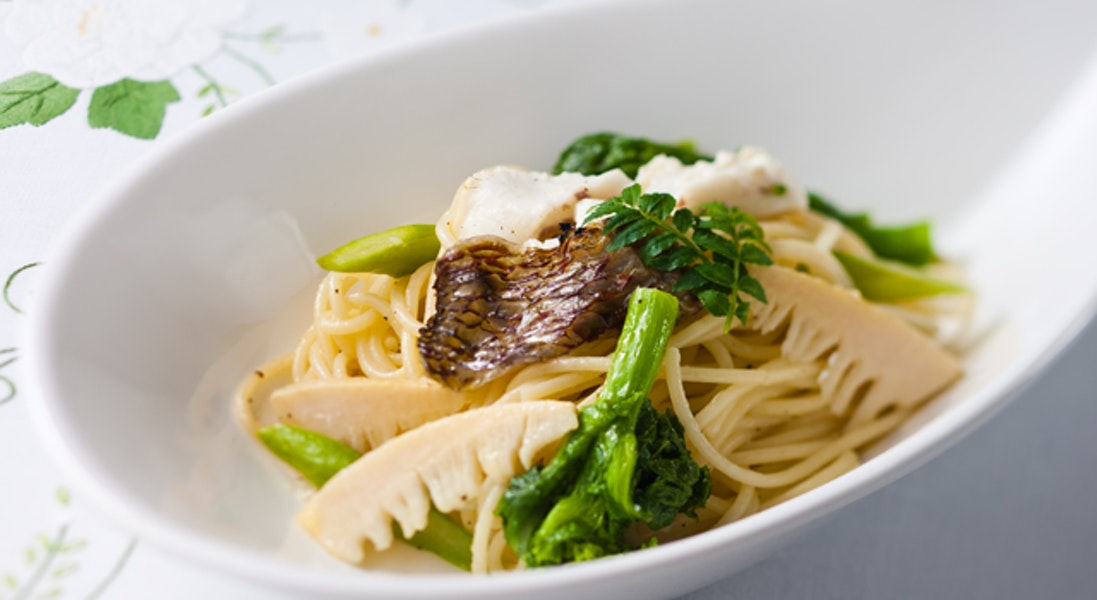 鯛と春野菜のスパゲッティ