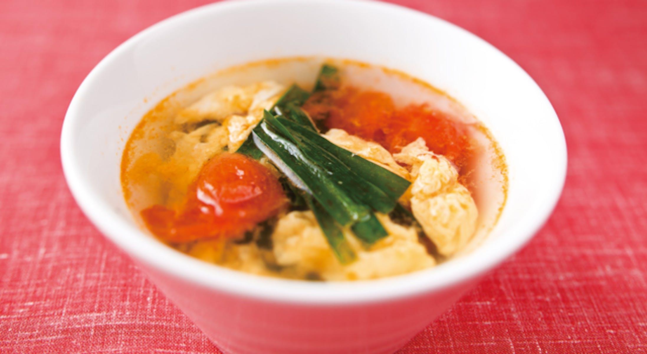 ミニトマトと卵の簡単スープ
