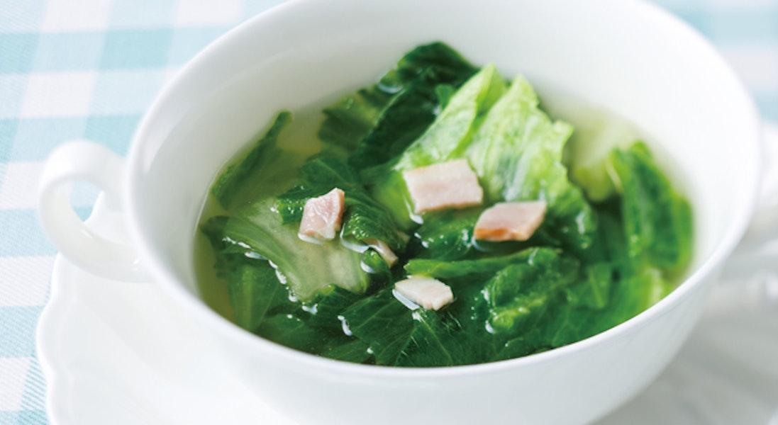 レタスとベーコンのスープ