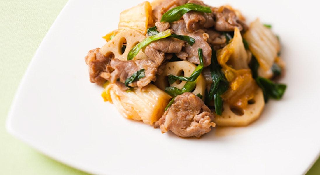 キムチと豚肉の炒め物