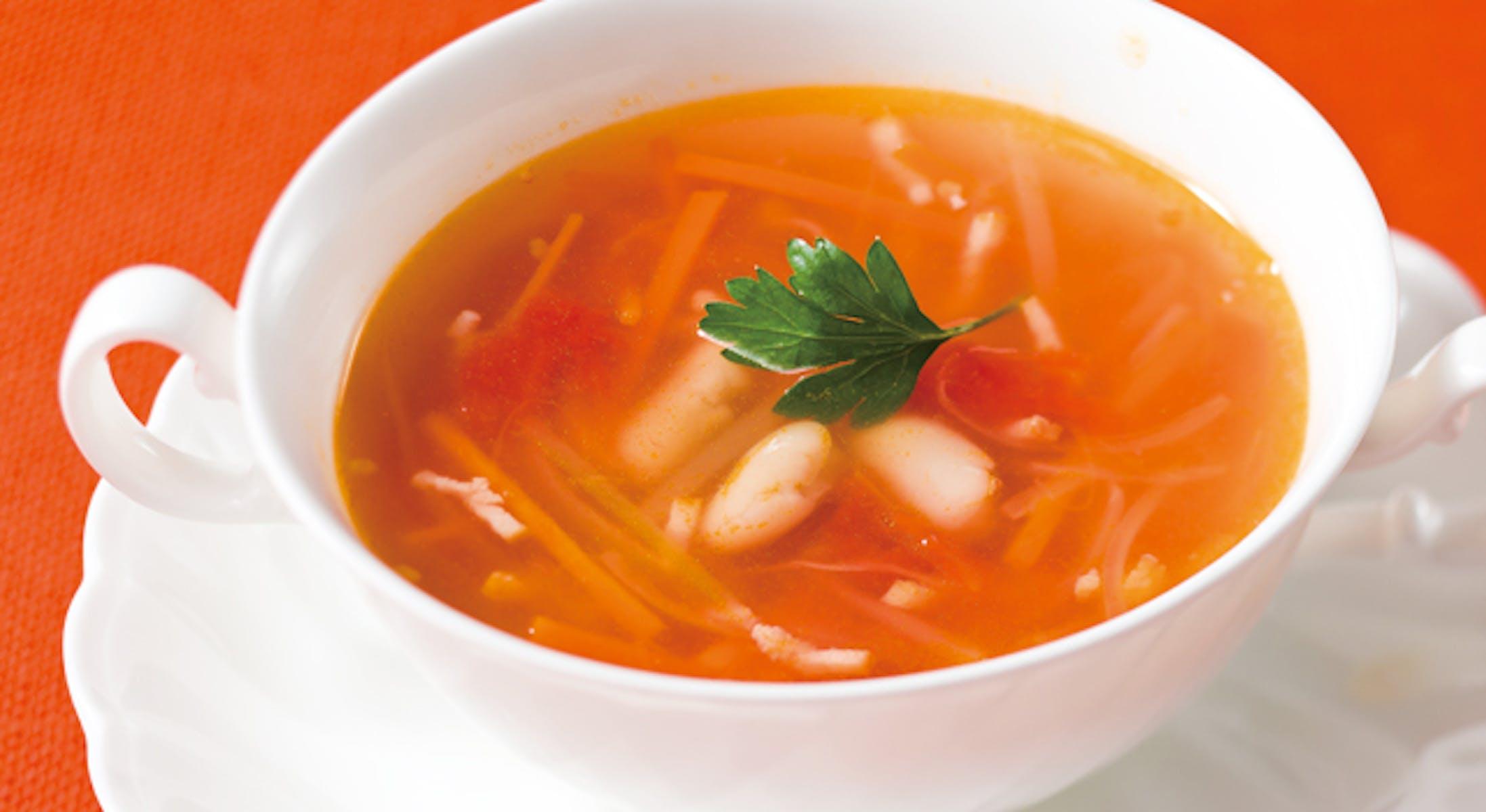 ビーンズと野菜のトマト風味スープ