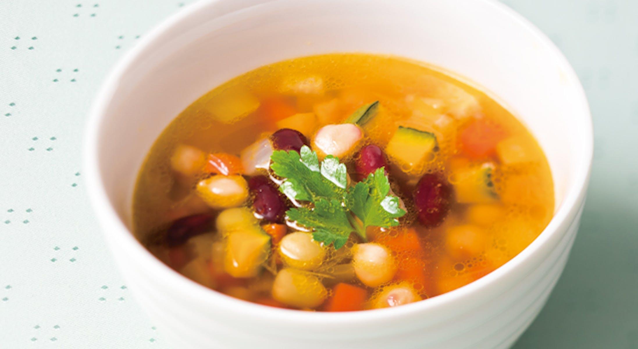 コロコロ野菜とお豆のスープ