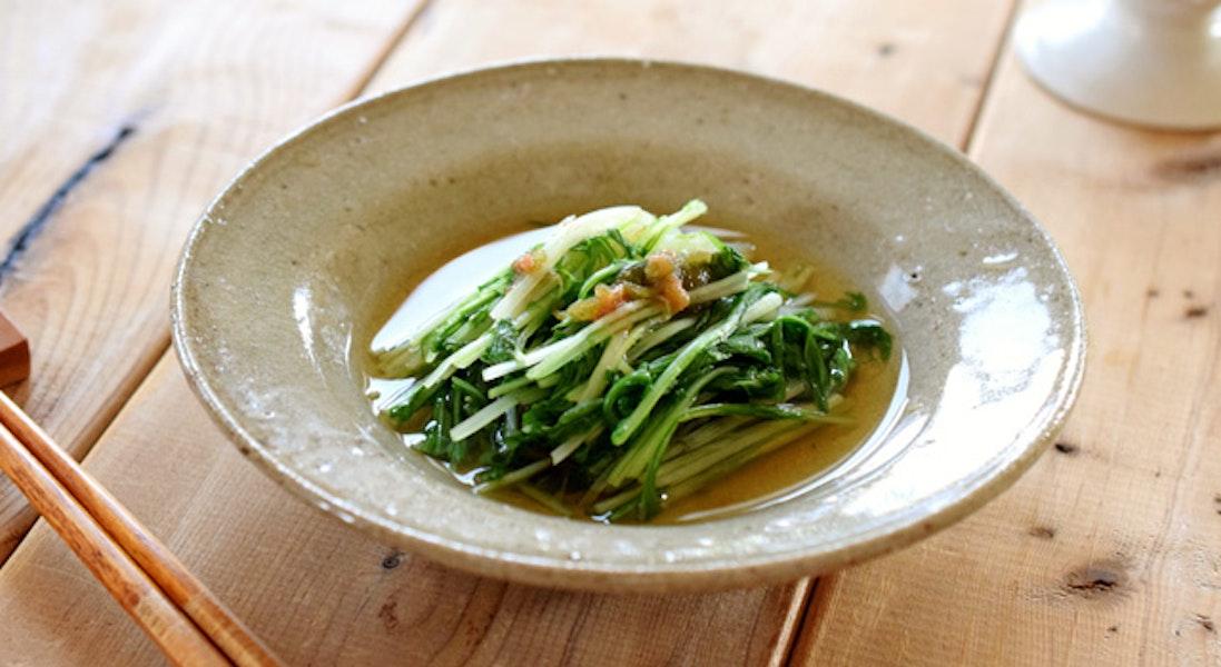水菜ととろろ昆布の煮浸し