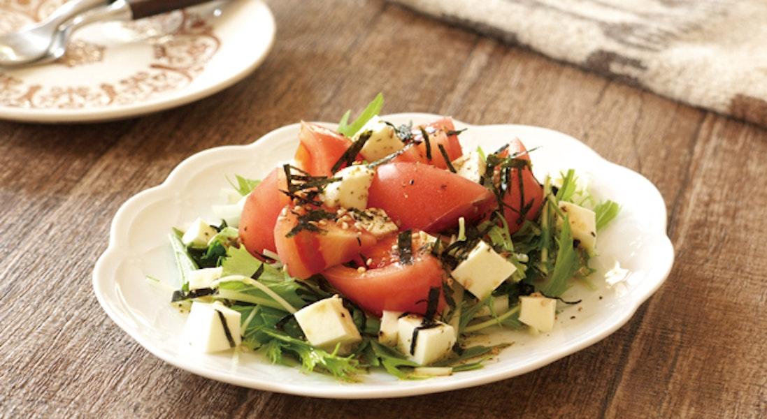 水菜とトマトとチーズのサラダ