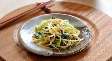 小松菜と大豆もやしのごま酢和え