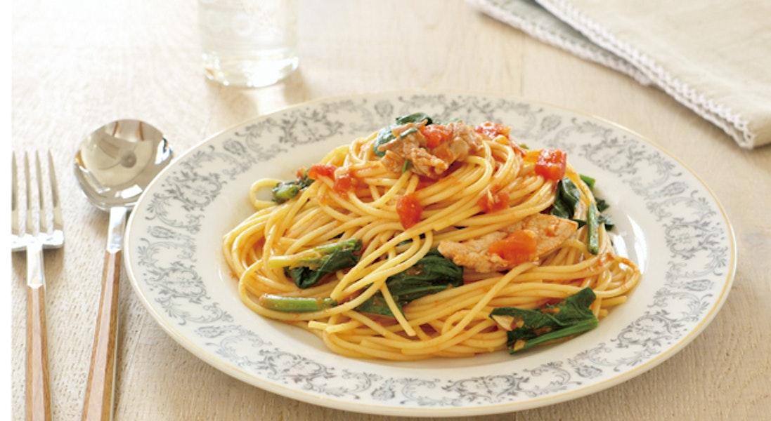 ほうれん草と豚肉のスパゲッティ