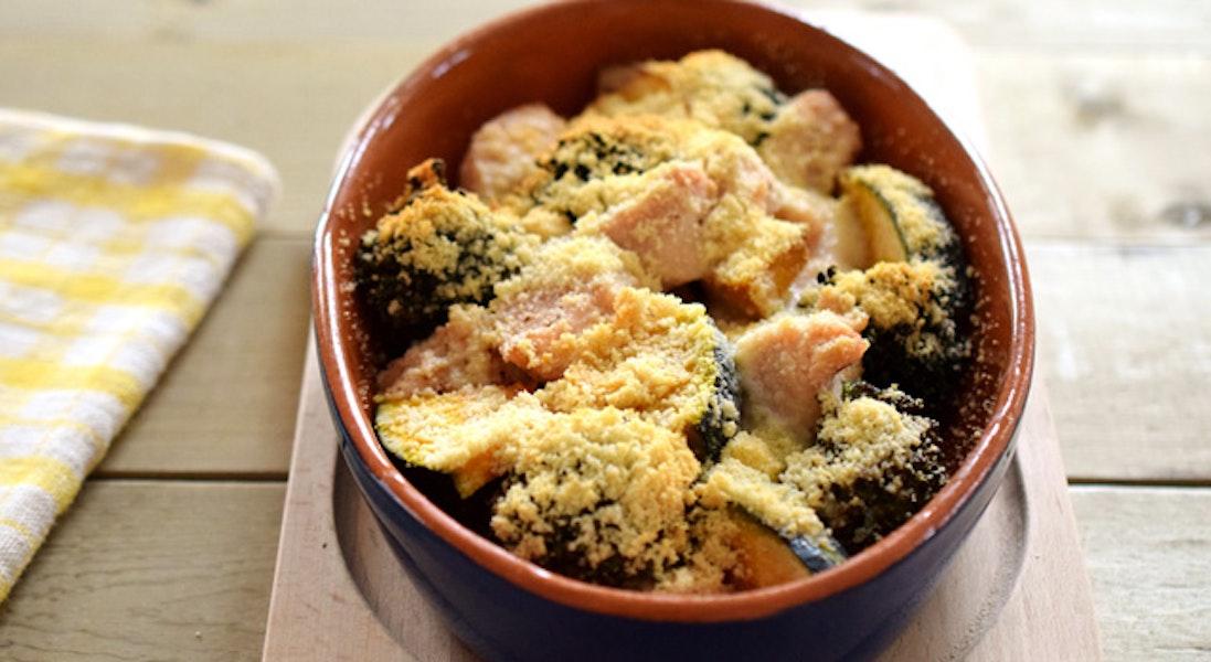 緑黄色野菜とチキンのパルミジャーノ焼き