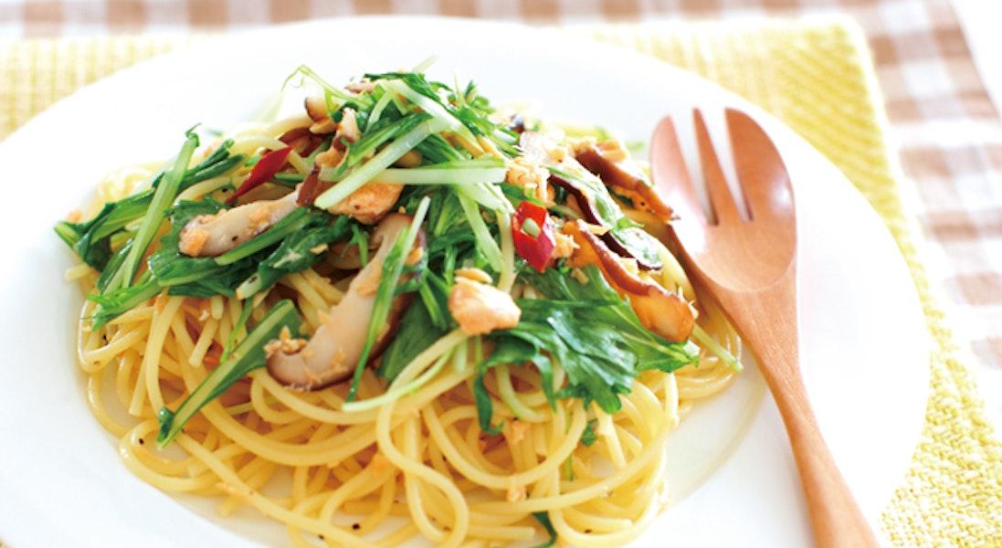 鮭と水菜の和風スパゲッティ