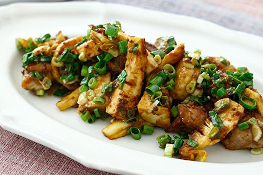 筍と鶏肉のマスタードみそ炒め