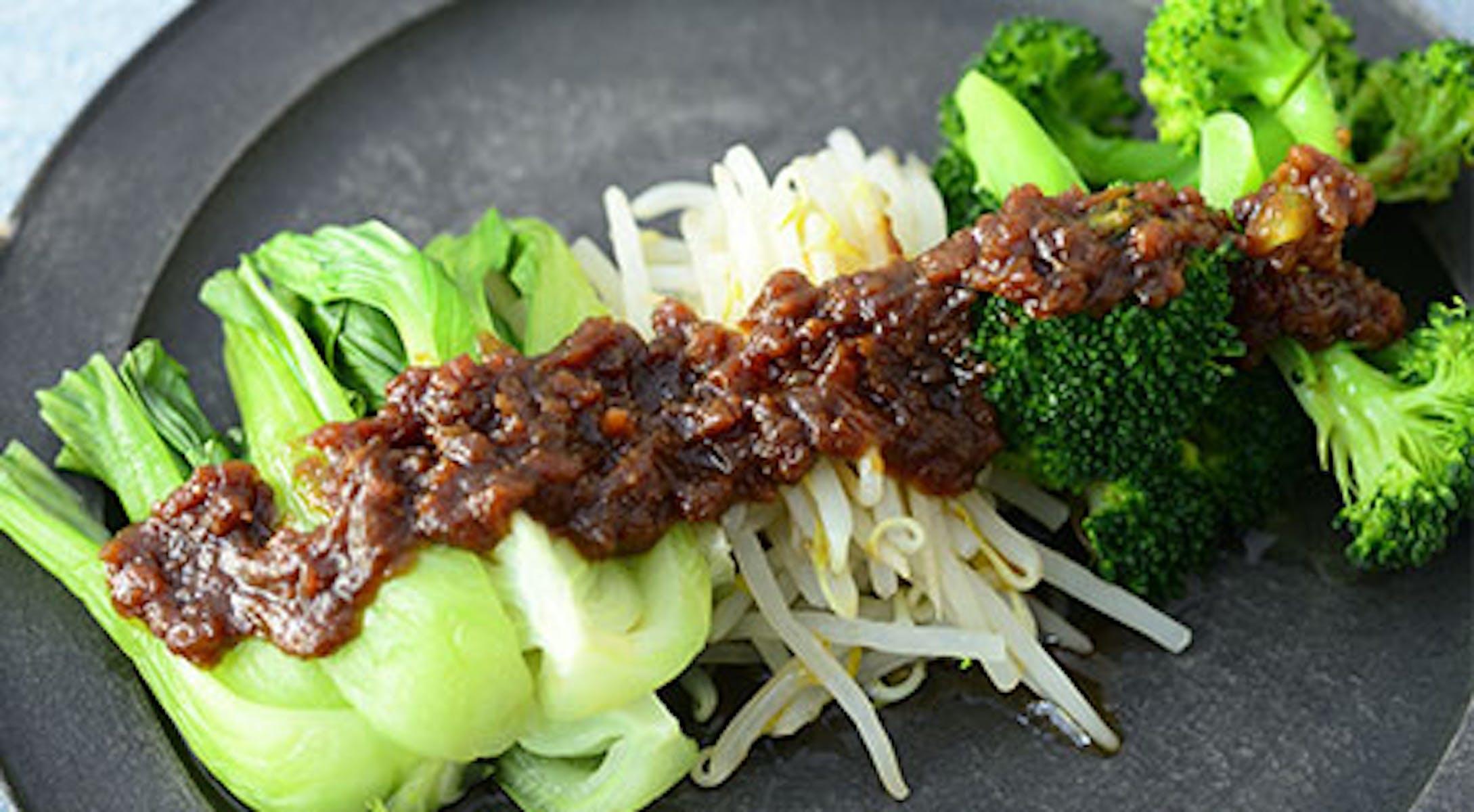 蒸し野菜の肉みそソース