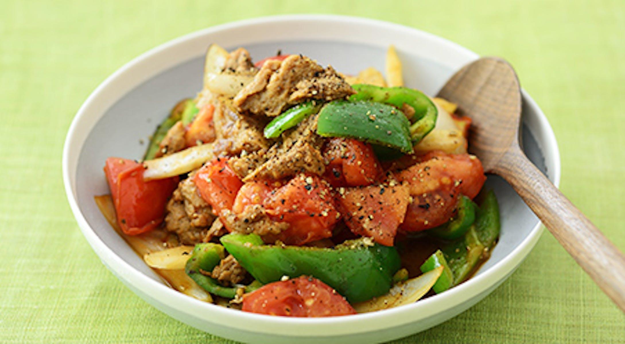 トマトとピーマン、大豆肉のオイスター醤油炒め(中華風炒め)