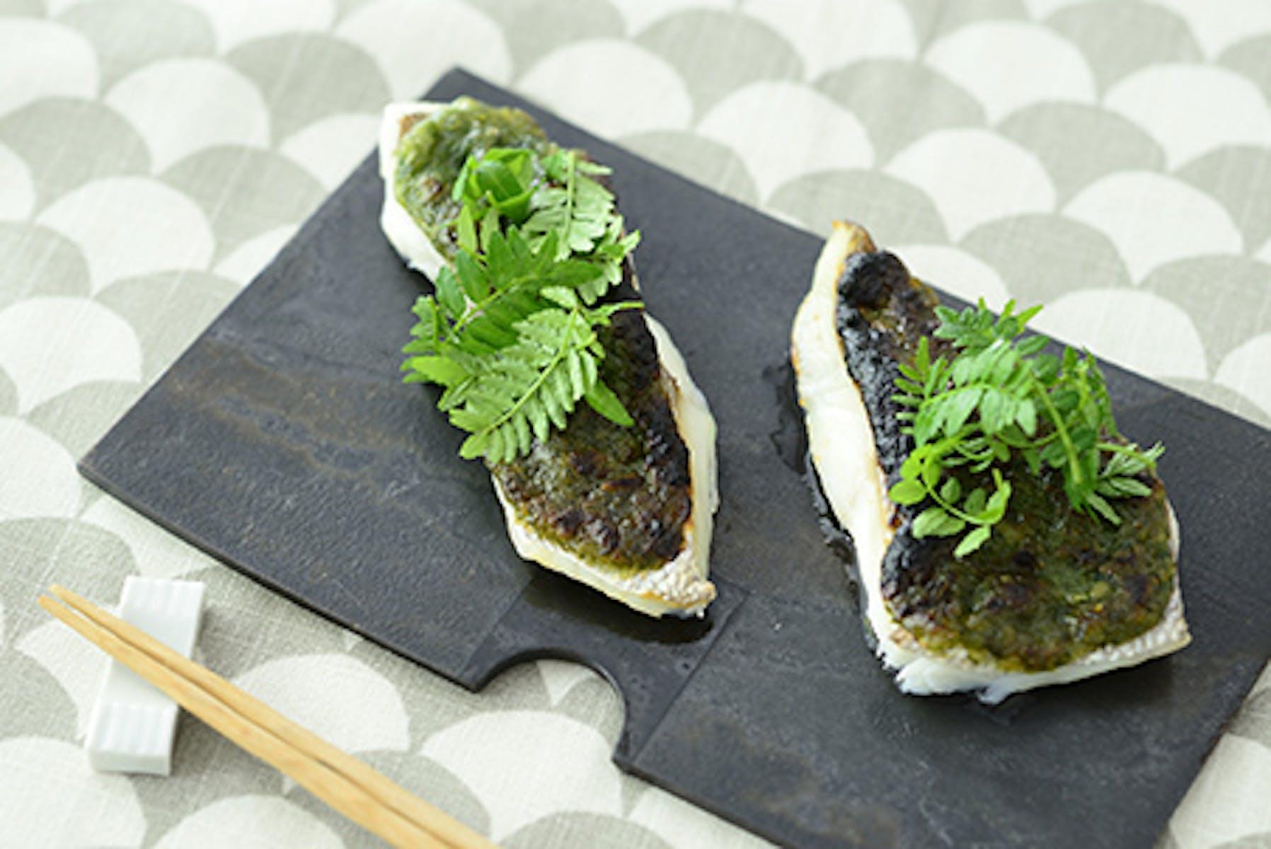 鯛(たい)の木の芽味噌焼き