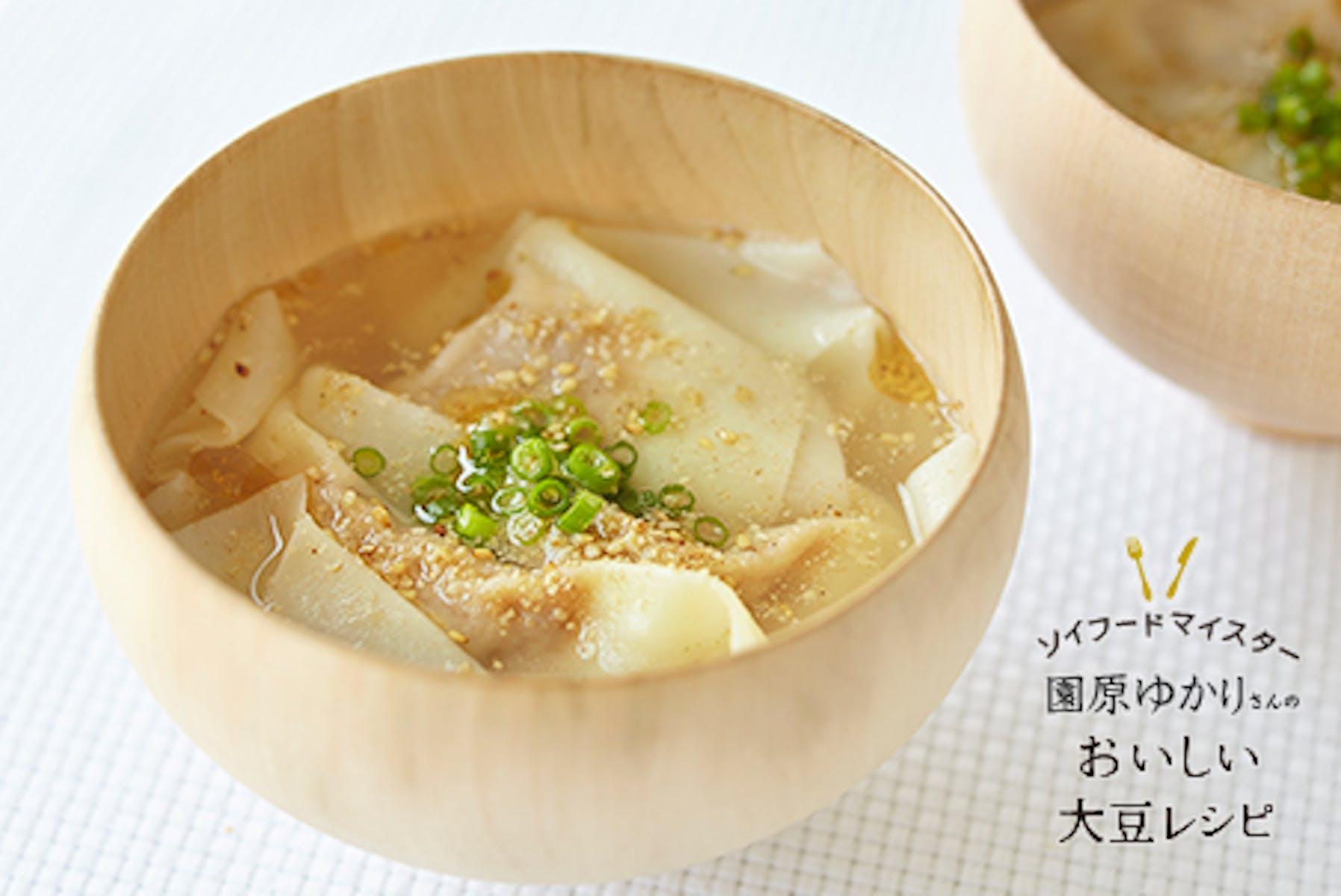 肉みそ豆腐のワンタンスープ