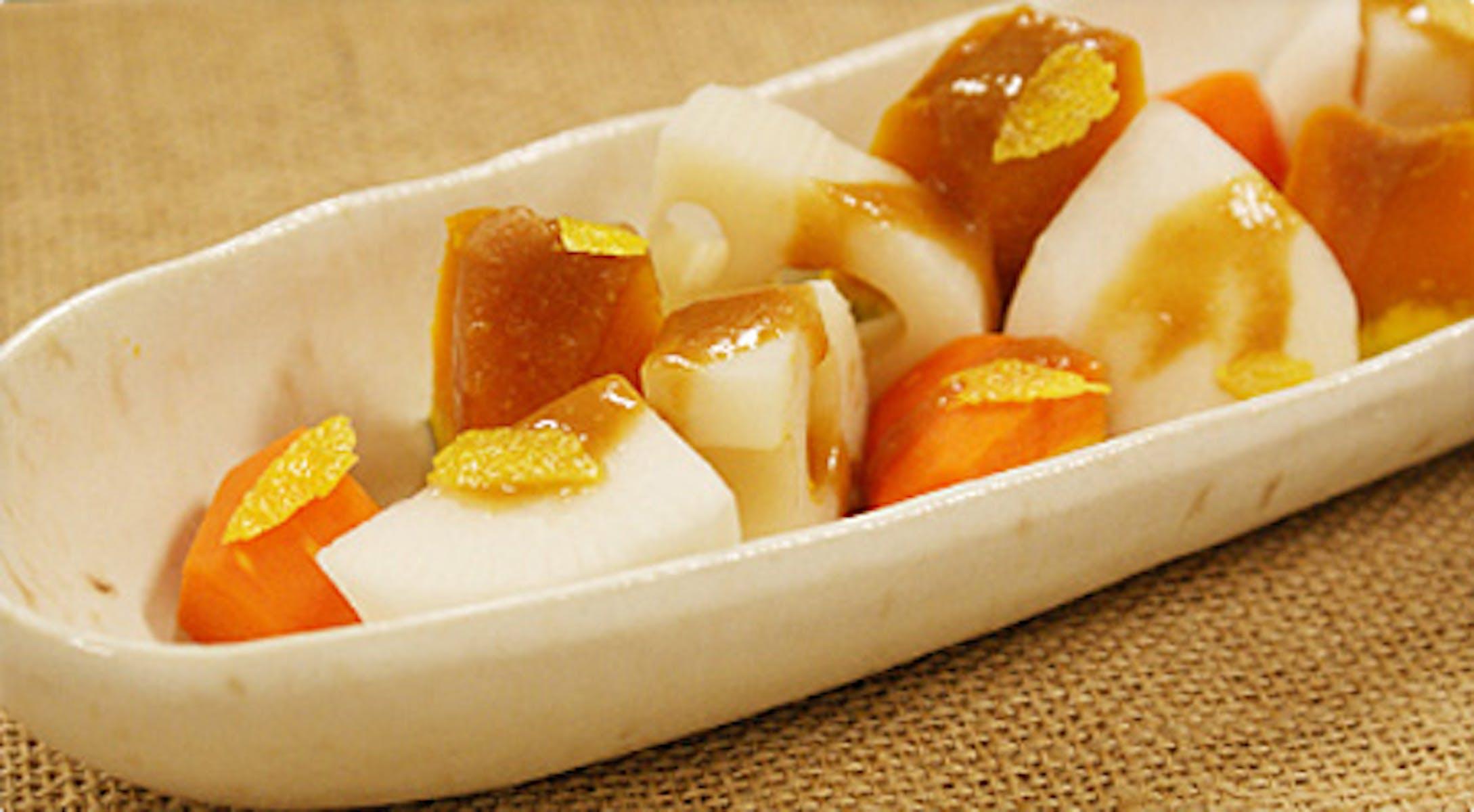 冬野菜の柚子味噌がけ