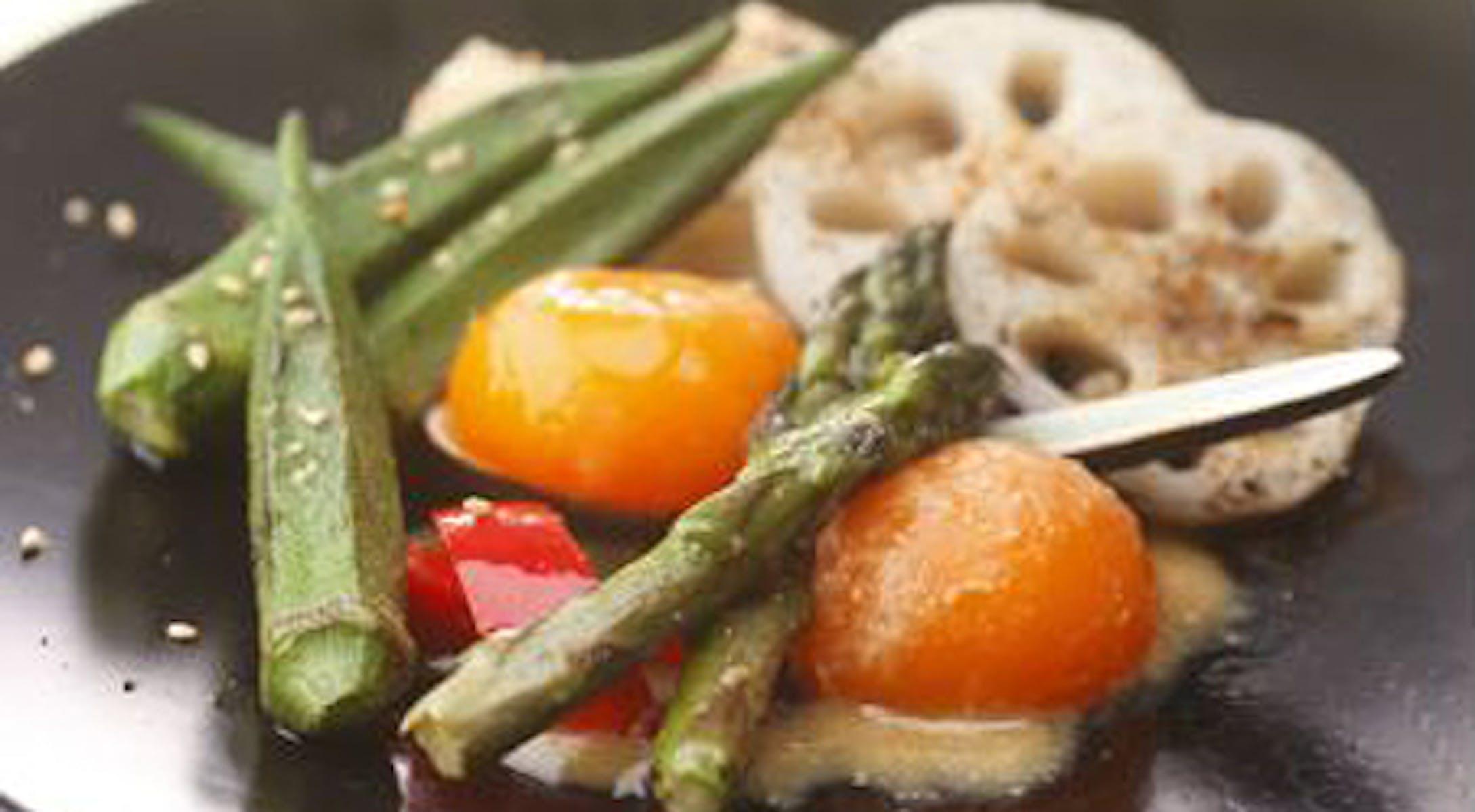 卵黄の味噌漬け&焼き野菜