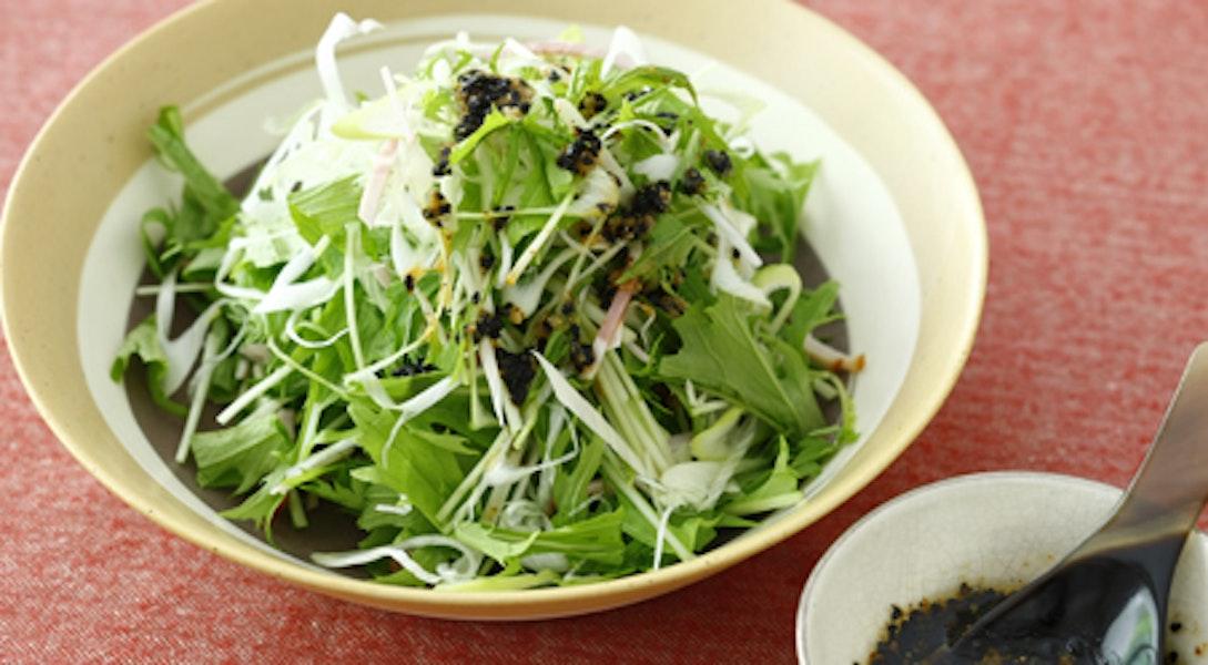 水菜とハム、ねぎのサラダ 黒ごま七味の糀ドレッシング