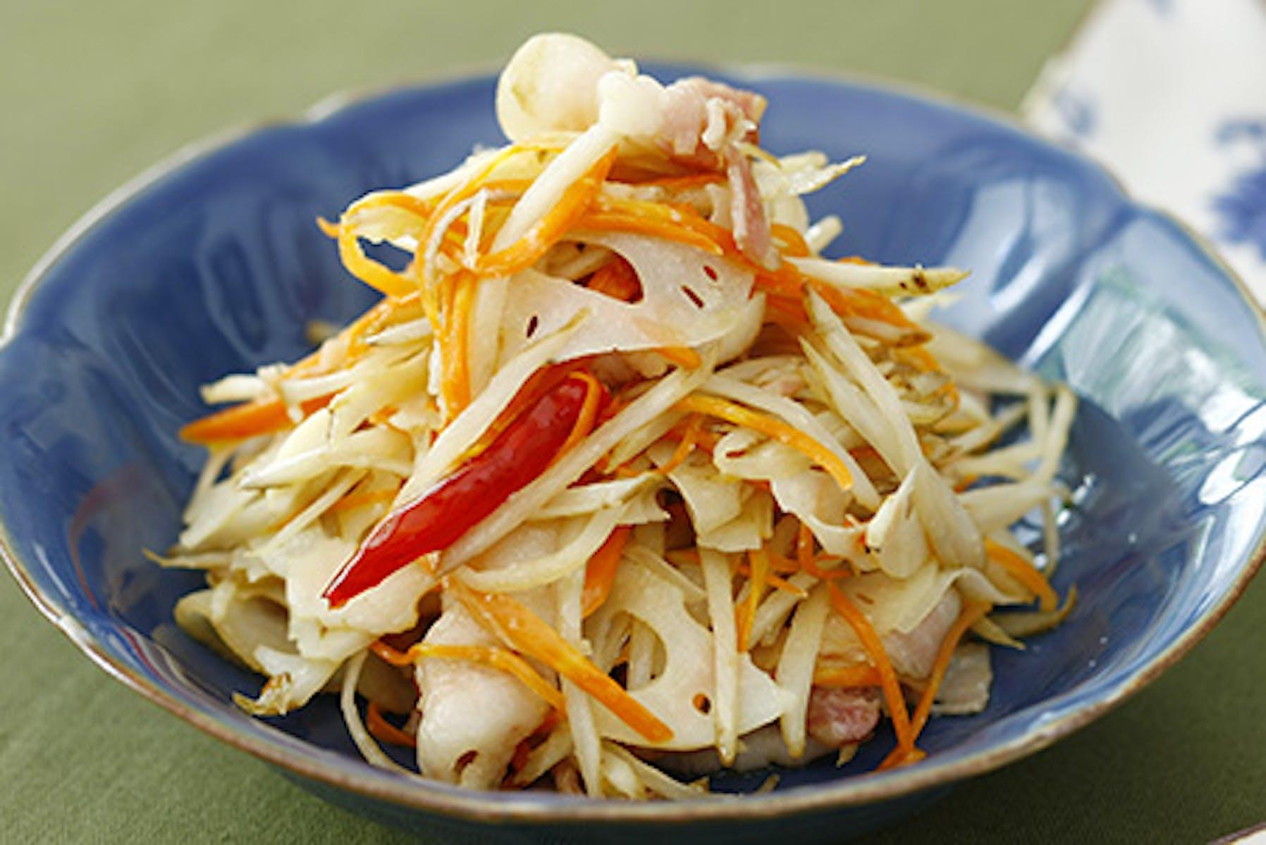 根菜とベーコンの塩糀きんぴら
