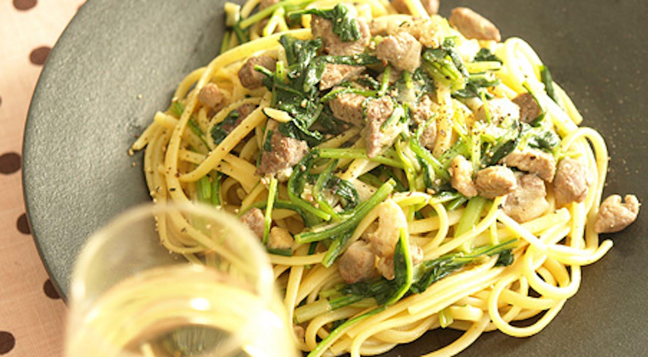 壬生菜(みぶな)と鴨肉のラグー みそ風味