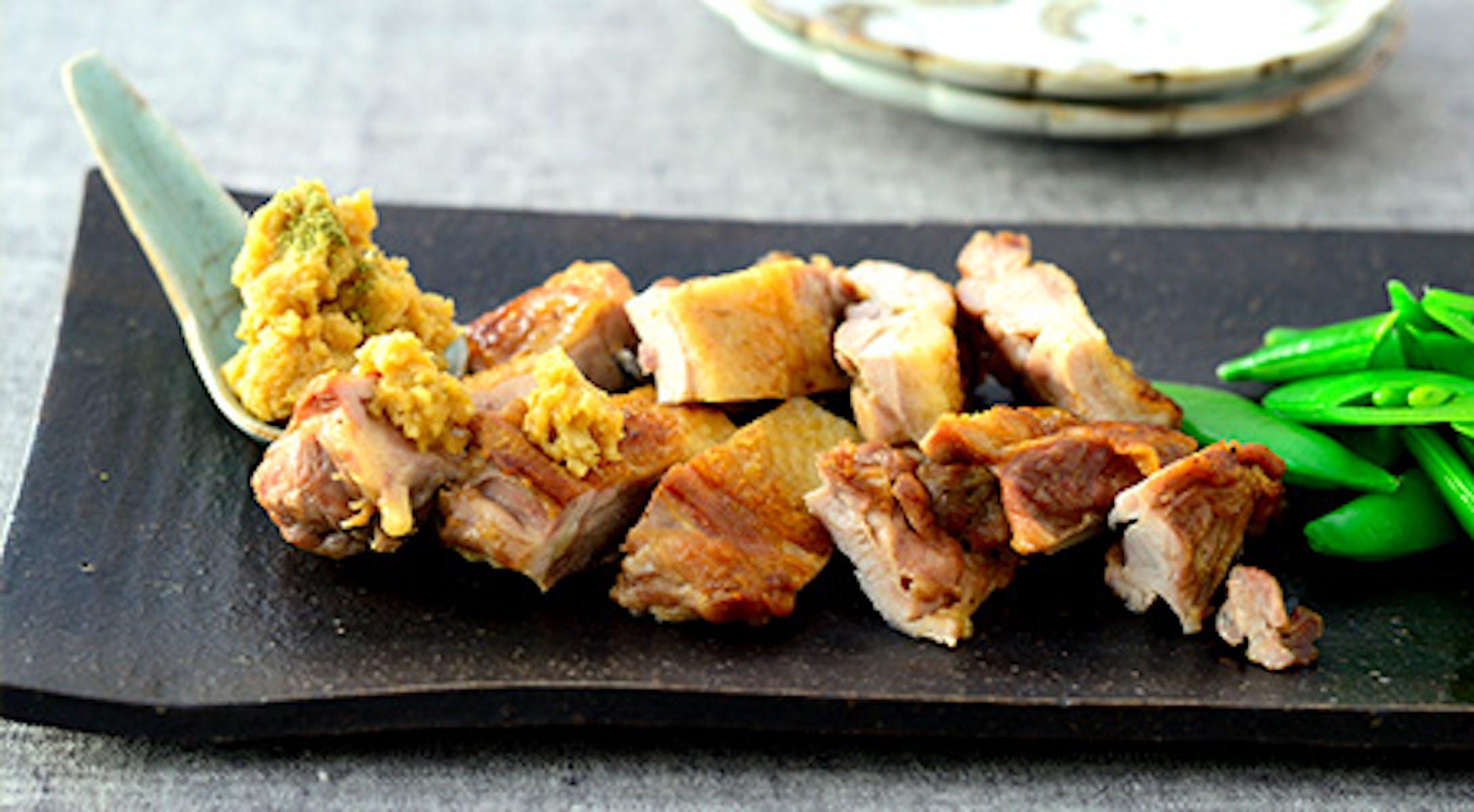 鶏肉のロースト にんにく山椒みそ添え
