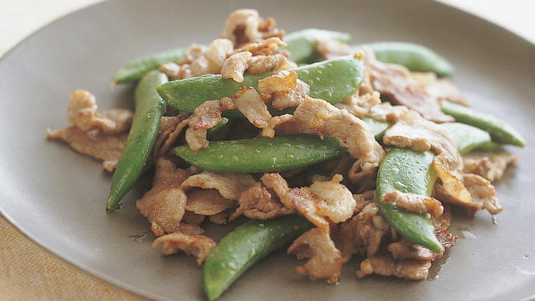 豚肉とスナップえんどうの炒め物