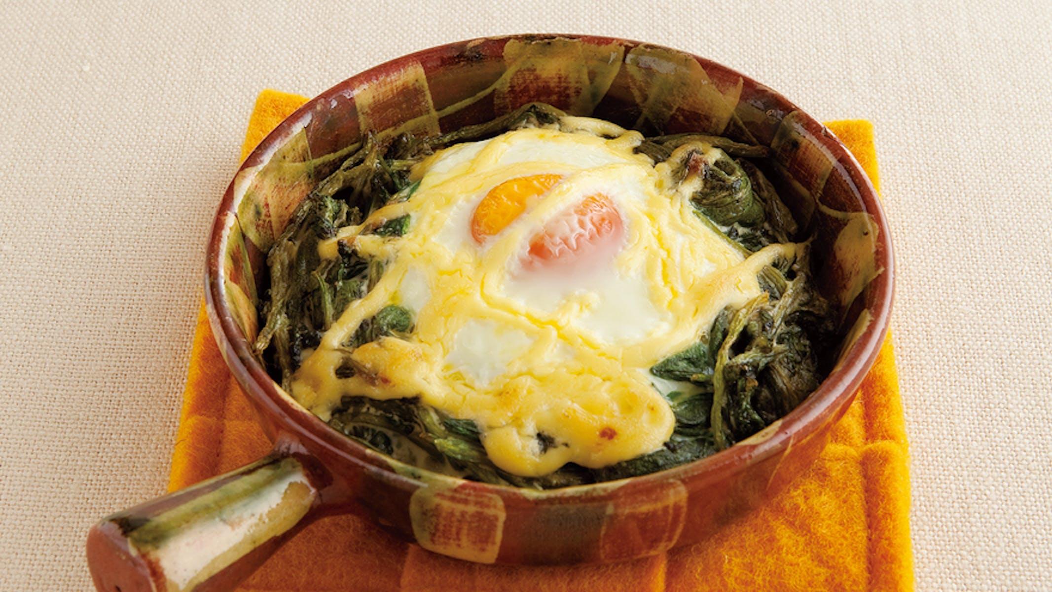 ほうれんそうと卵のマヨネーズ焼き