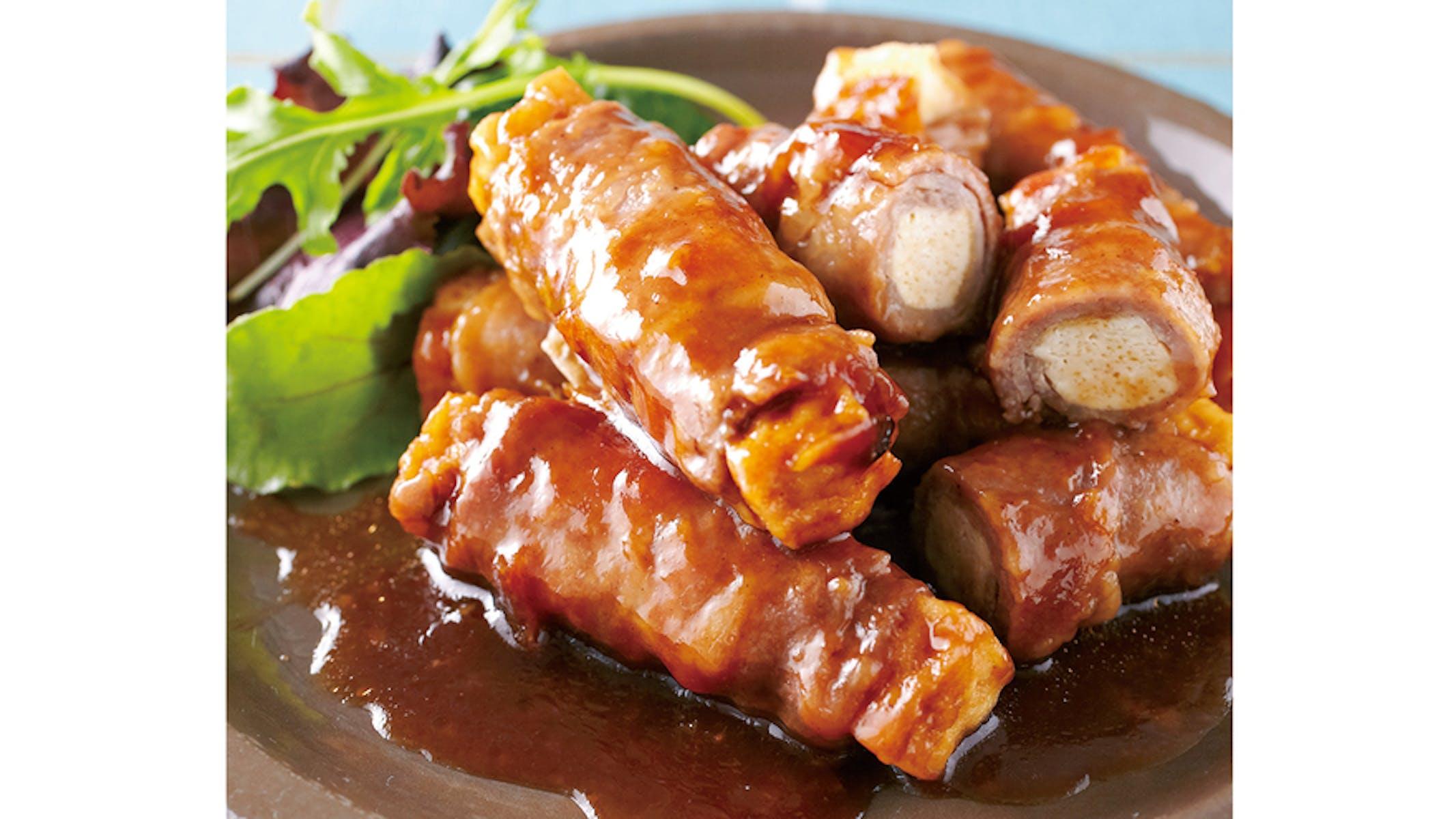 厚揚げの豚肉巻き バーベキューソース