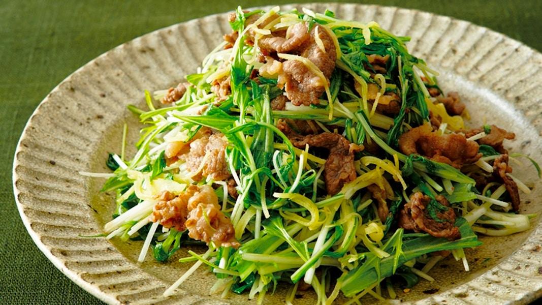 牛肉と水菜のしょうが炒め