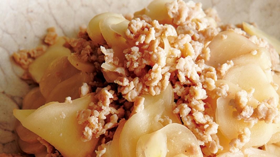 鶏ひき肉と新しょうがの炒め物