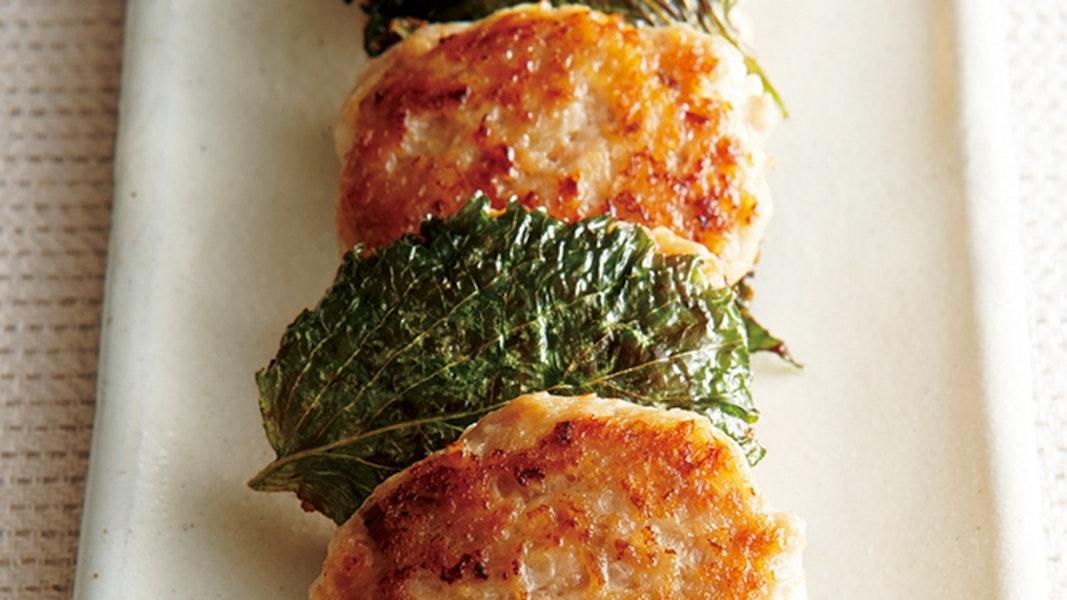 鶏ひき肉の青じそ焼き