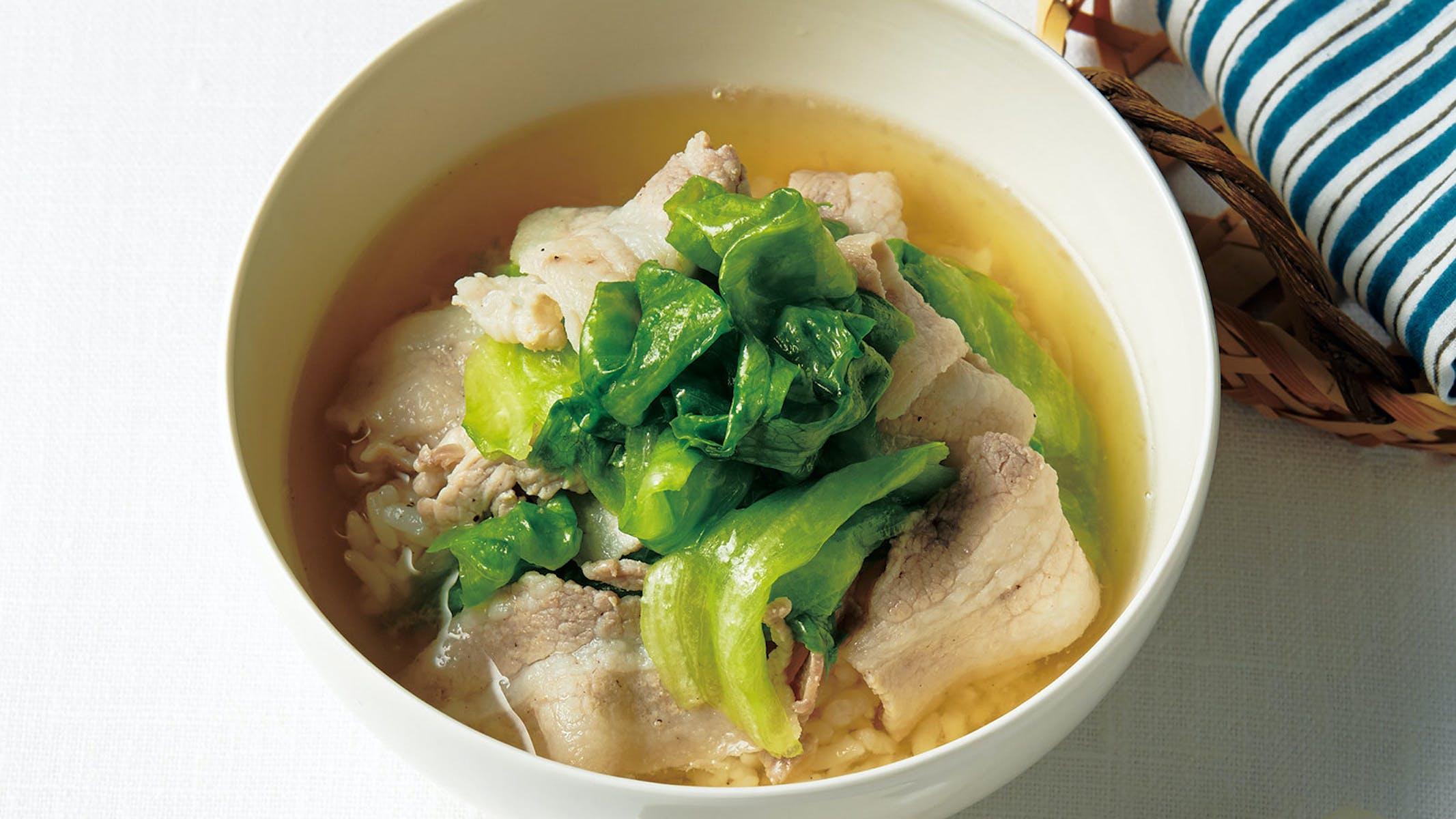 豚バラとレタスのスープかけご飯