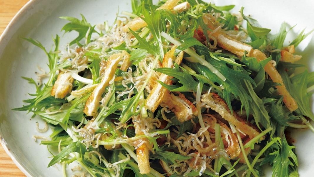 水菜とじゃこの梅サラダ
