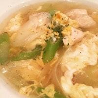 簡単ササミと白ネギの卵スープ