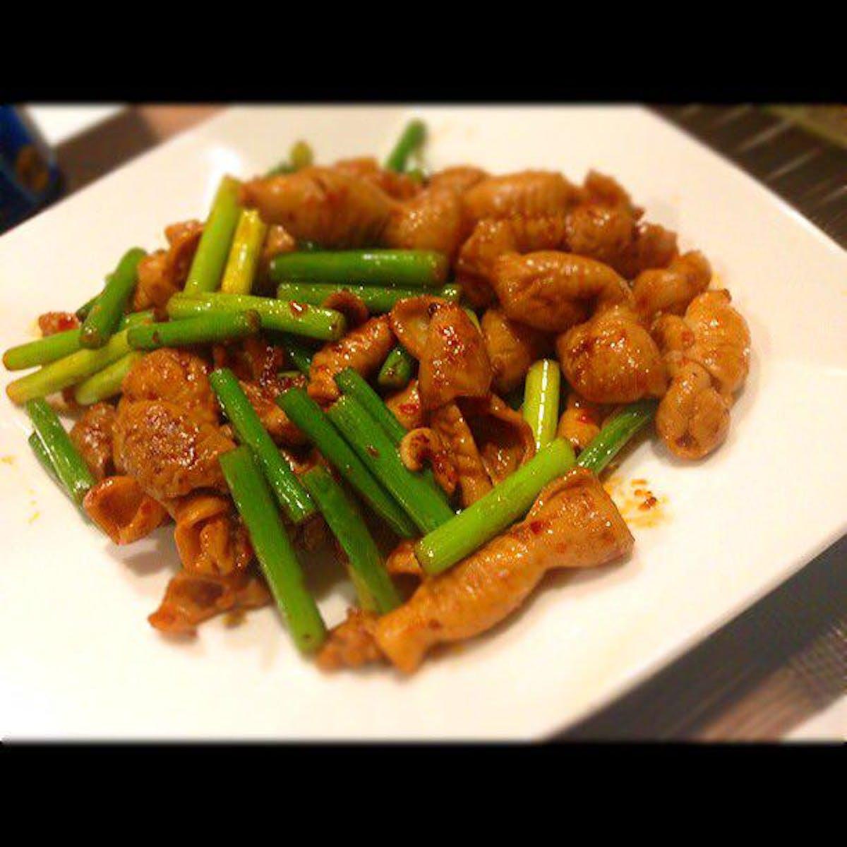豚もつの中華風辛味噌炒め